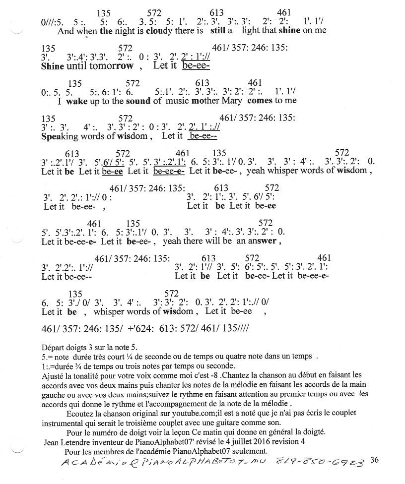 Page 2, Voici un \u00e9chantillon gratuit Let it be des Beatles en num\u00e9ro PianoAlphabet07